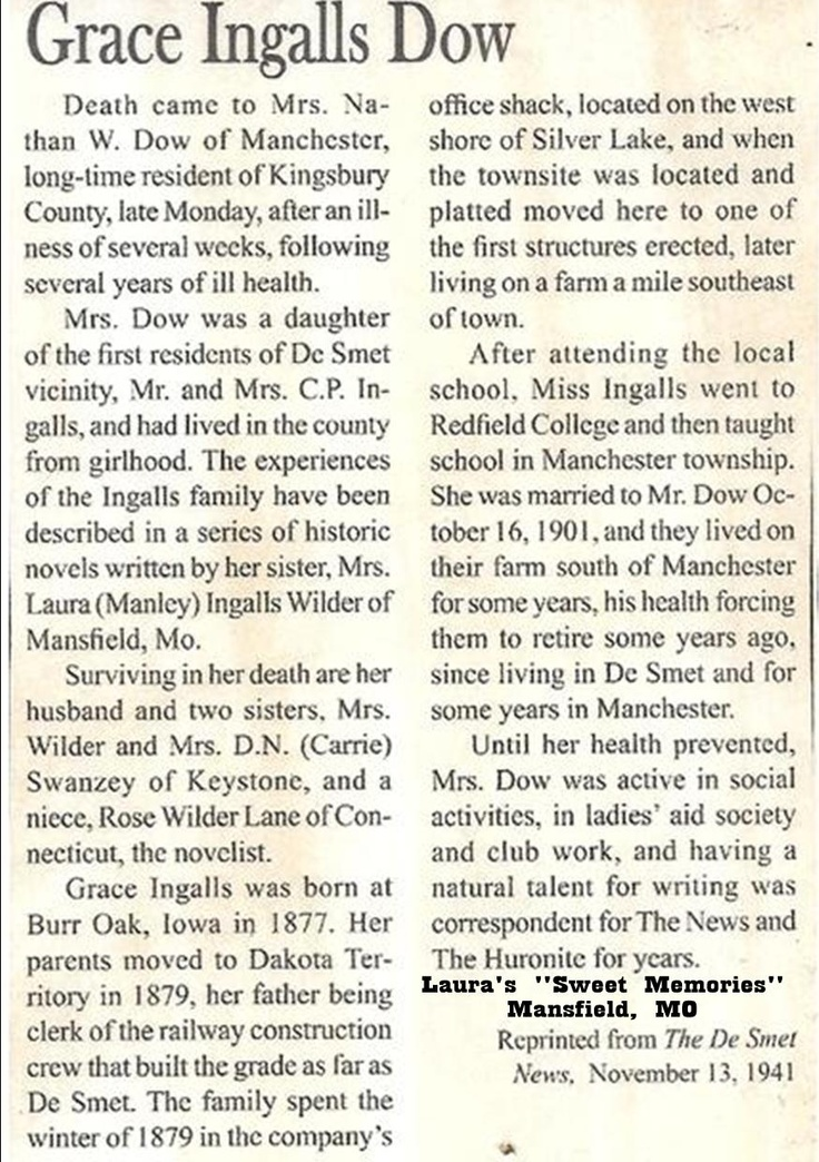 Grace Ingalls Dow obituary.