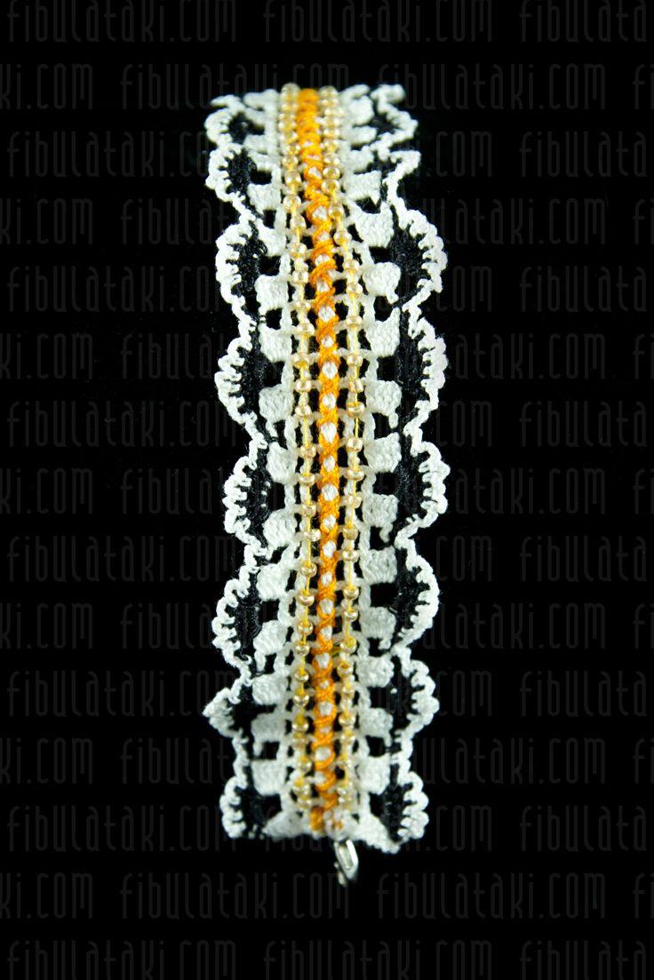 Fibula Takı - Çeyiz Sandığı Serisi / Bileklik - örgü - dantel - beyaz, siyah, turuncu