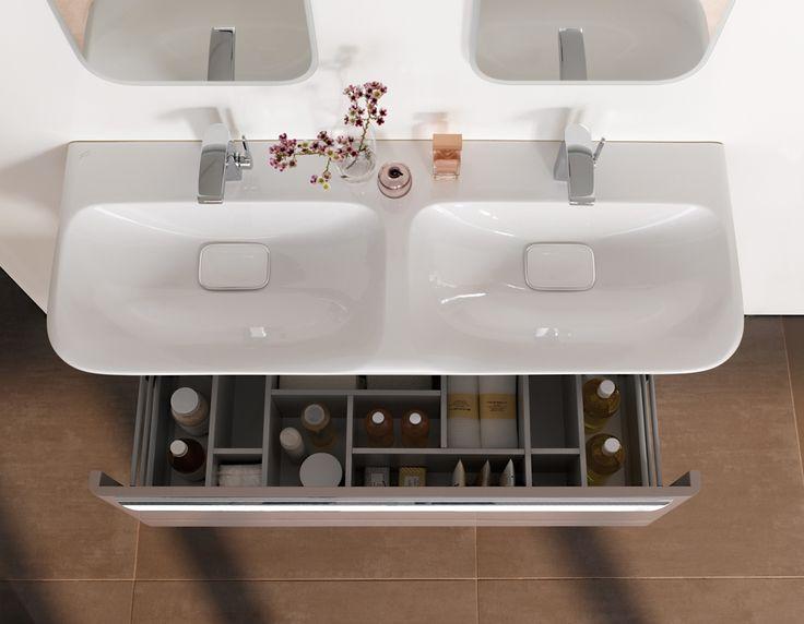 Die besten 25+ Doppelwaschtisch mit unterschrank Ideen auf - badezimmer doppelwaschbecken