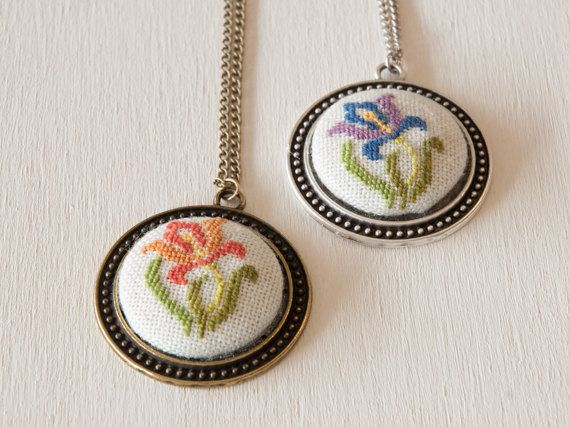 Cross stitch pendant necklace Iris Flower от BlackCatHandmadeShop
