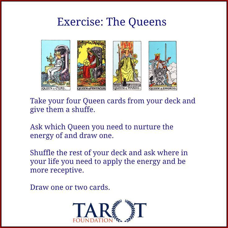 EXERCISE: The Queens | Tarot Board | Tarot learning, Tarot