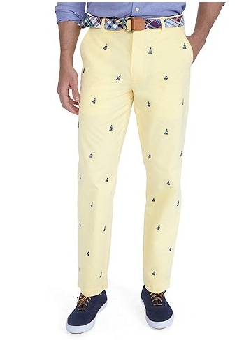 Brooks Brothers pants with all-over sailboat embroidery. For fancy men and  sailors only!