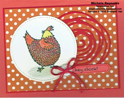 Handmade card using Stampin' Up! products - Hey, Chick Stamp Set, Thoughtful Banners Photopolymer Stamp Set, Brights Designer Series Paper Stack, Swirly Scribbles Thinlits, Classic Label Punch, Classy Designer Buttons, Candy Cane Lane Baker's Twine, Stitched Shapes Framelits, Watercolor Pencils, and Blender Pens.  By Michele Reynolds, Inspiration Ink.