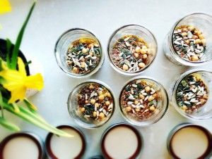 Mason Jar Salad - Roast Vegetable Medley Recipe.  Start with chickpea, chia seed, linseed, pepitas, and sunflower seeds. Vegetarian, Gluten Free, Dairy Free and Delicious!  Full recipe here...