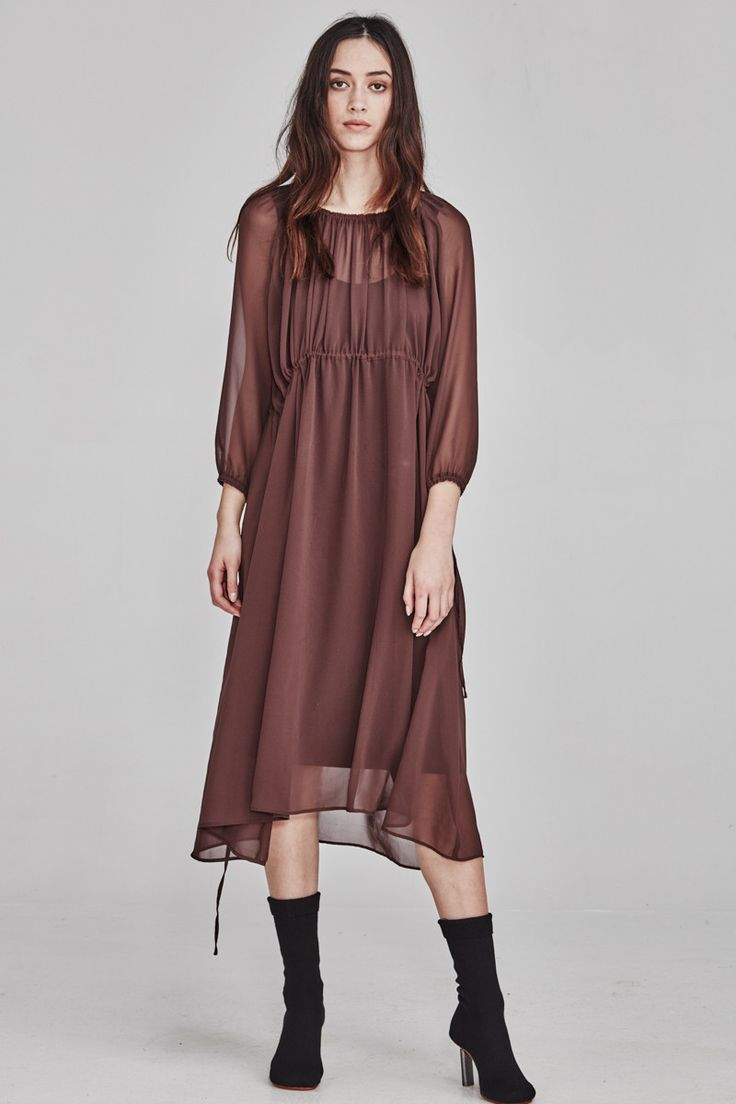Ricochet NZ Fashion Clothing AW17 Exclusive Marron Gathered Sarah Dress