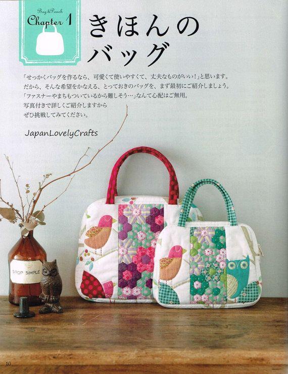 Centón bolsos y bolsas libro Quilt japonés por JapanLovelyCrafts