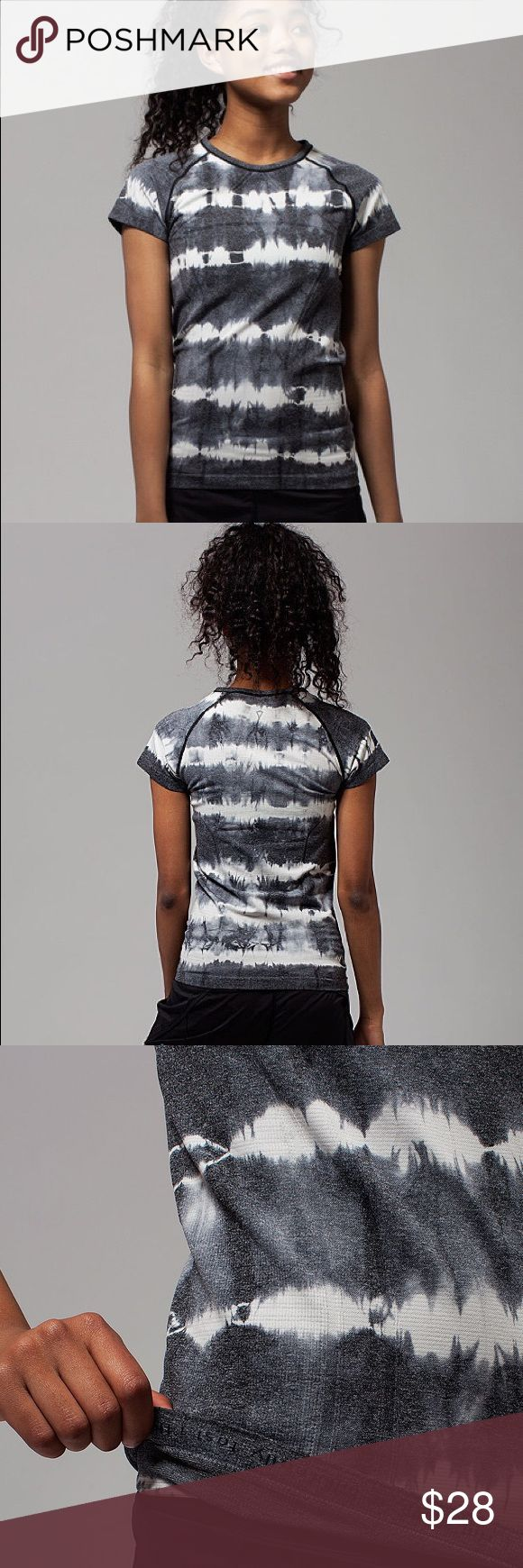 Ivivva by lululemon Black Tie-Dye Fly Tech Shirt Ivivva by lululemon fly knit short sleeve tee in excellent used condition. Size L in kids should fit about size 0-2 in women's. Feel free to ask questions or make an offer! PRODUCT DESCRIPTION: This too-cool tee features mesh ventilation and Silverescent® technology for a practice-ready piece that stays cool and clean.  Features- Silverescent® technology powered by X-STATIC ® inhibits the growth of odor-causing bacteria  Classic fit…