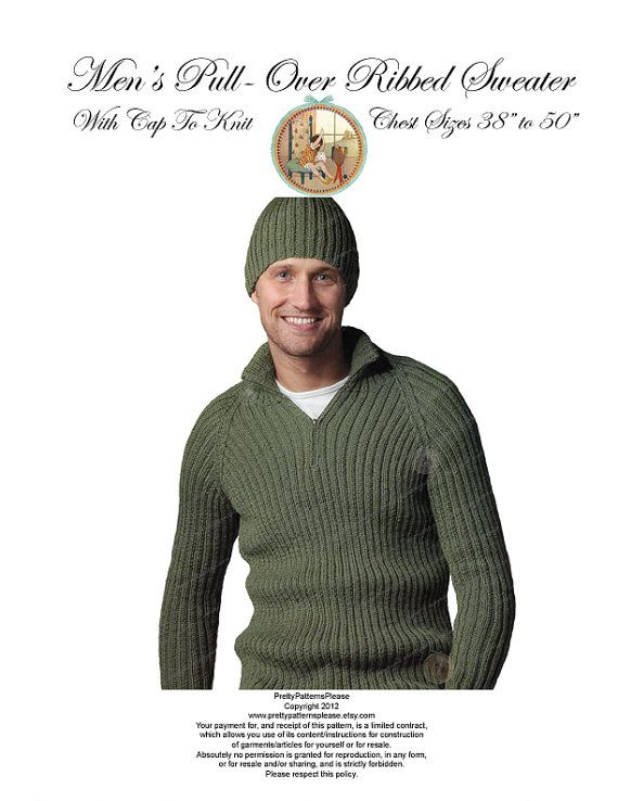 mens-pull-over-zip-neck-sweater-and-hat