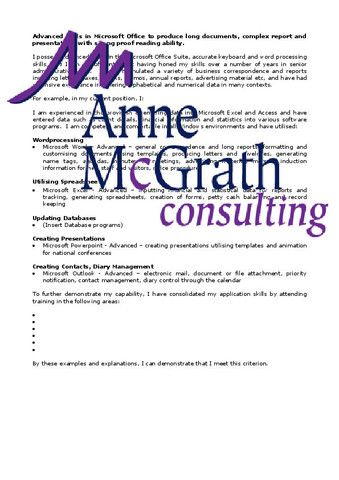 Admin - Advanced skills in Microsoft Office to produce long documents – Professional Resumes @ Anne McGrath Consulting