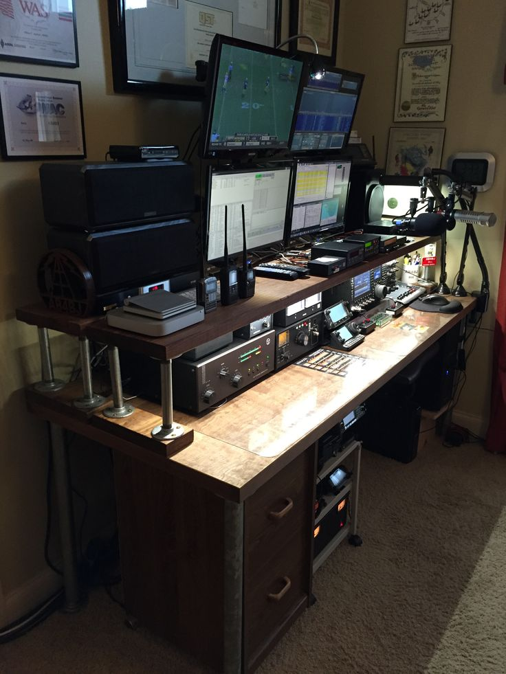 For the last few years I've used a folding table, bricks and a piece of light shelving for a make-shift ham radio desk. I finally decided that I needed something that was a little more perma…