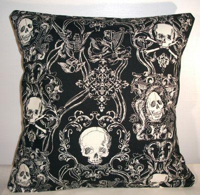 "New Black Toile Skulls Cushion Cover 16""X16""   eBay"