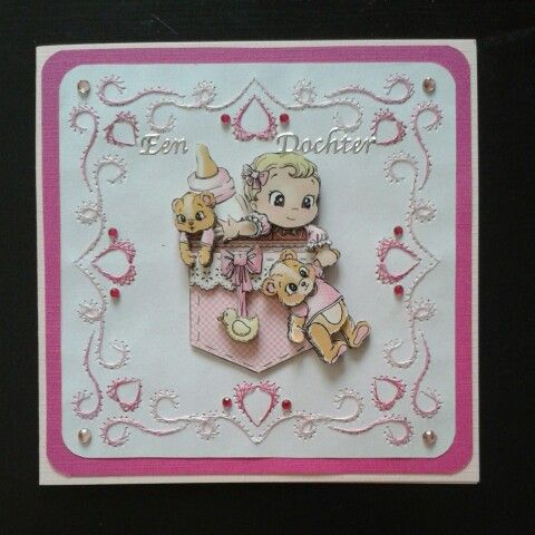 Card for baby girl - Yvonne Creations