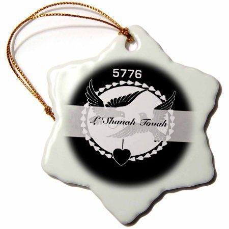 3dRose Print of L Shanah Tovah Black White With Doves Year 5776, Snowflake Ornament, Porcelain, 3-inch