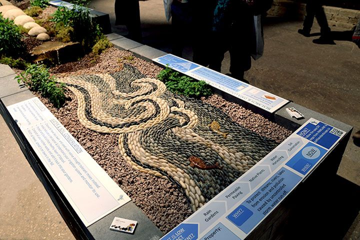 Commissioned pebble mosaics designed and created to be site specific, river pebbles, cast in concrete, frostproof, private gardens and public spaces