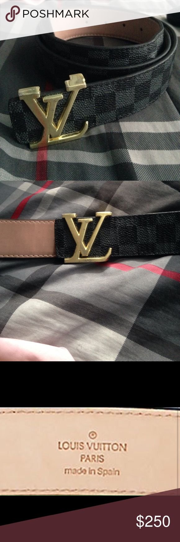 Resversible Louis Vuitton Belt w/Bag&Box Black and Grey, Made In Spain, Back buckle doesn't say Louis Vuitton. (Real) Louis Vuitton Accessories Belts