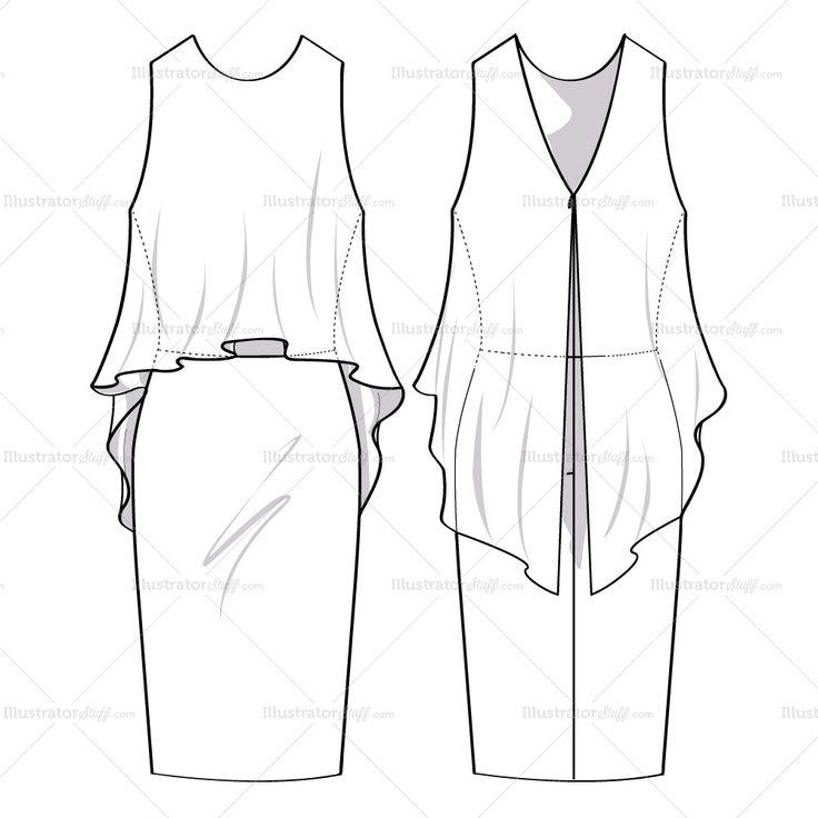 Women's Flowy Dress Fashion Flat Template
