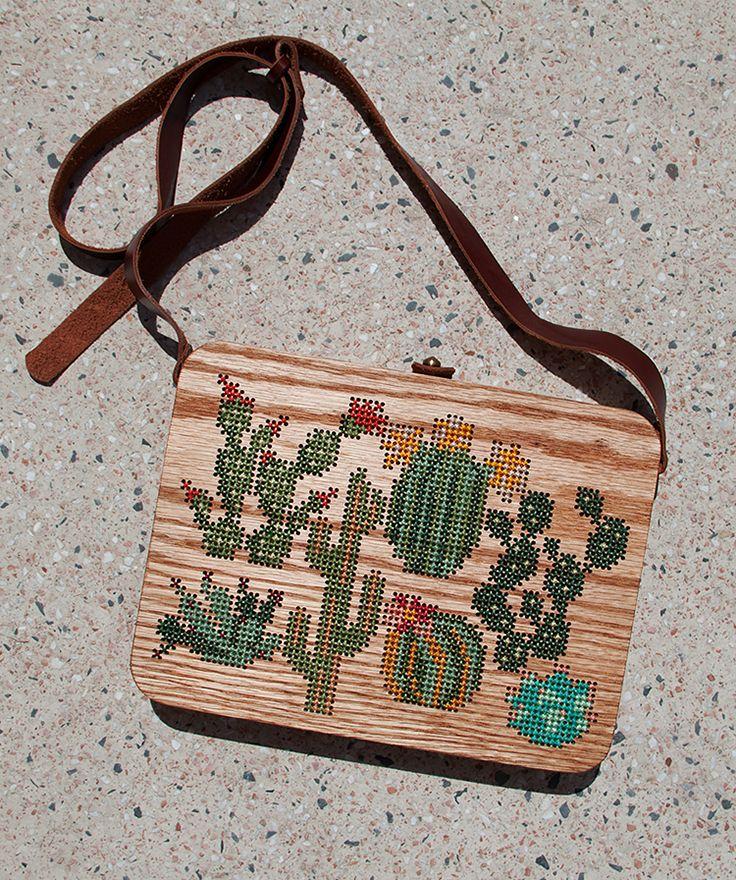 Plants Stitched Oak Wood Bag by Grav Grav - $490