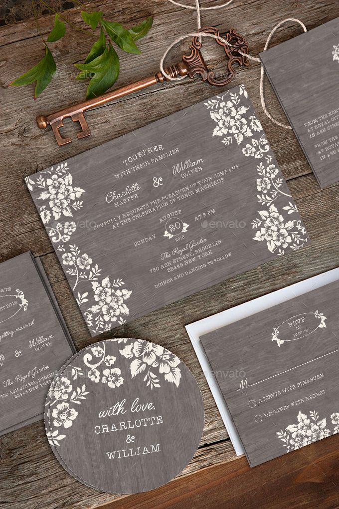 With a gorgeous wood grain texture background and delicate woodblock bloom flowers, this wedding invitation defines rustic elegance. White lettering spells out all of the important wedding details ...