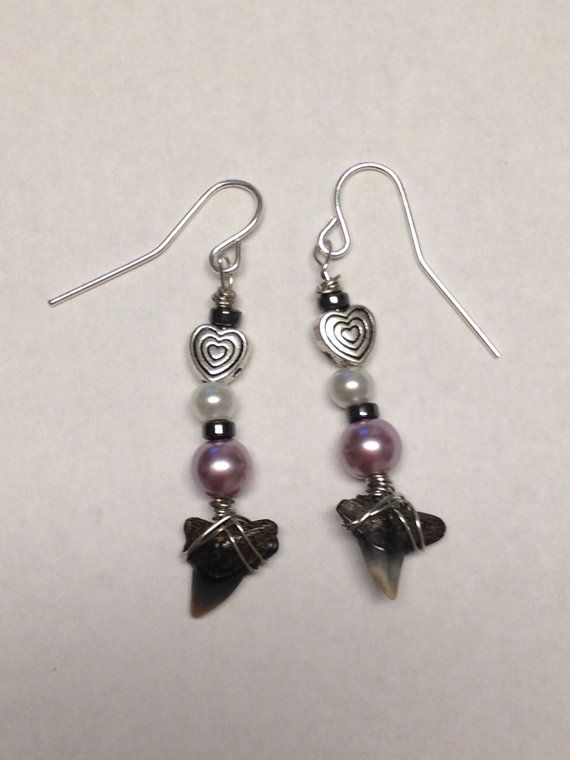 Purple Dangle Sharks Teeth Earrings by DayDreamingDecor on Etsy, $10.00