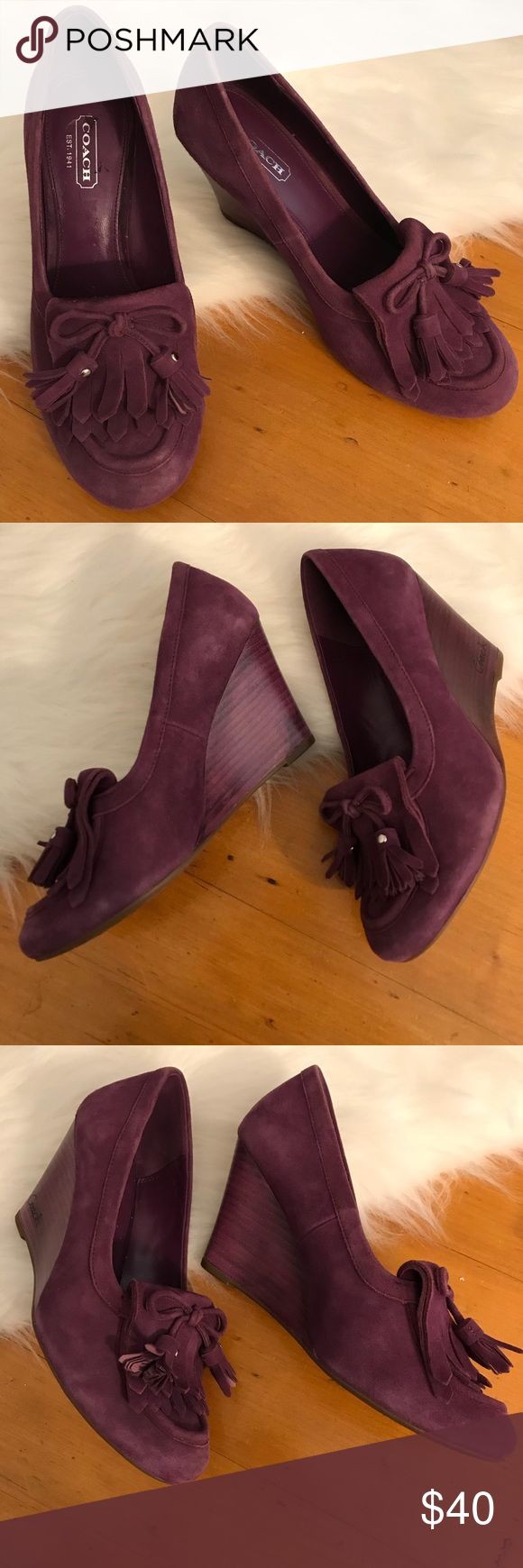 [ Coach ] Purple Suede Oxford Wedges Super cute and in great condition! Coach Shoes Wedges