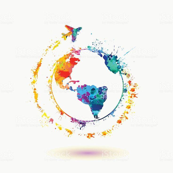 Erdesymbol Um Die Welt Reisen Stock Vektor Art und mehr Bilder von Aquarell