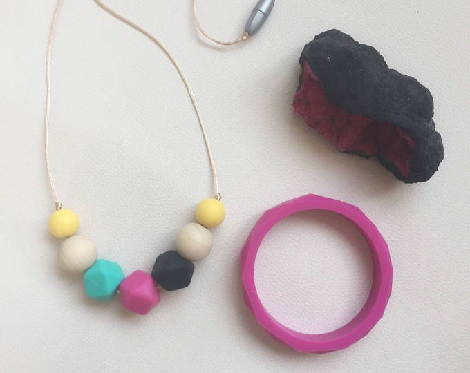 Gift set. Baby teether, silicone teether, Silicone necklace, eco friendly, breastfeeding and nursing, baby shower