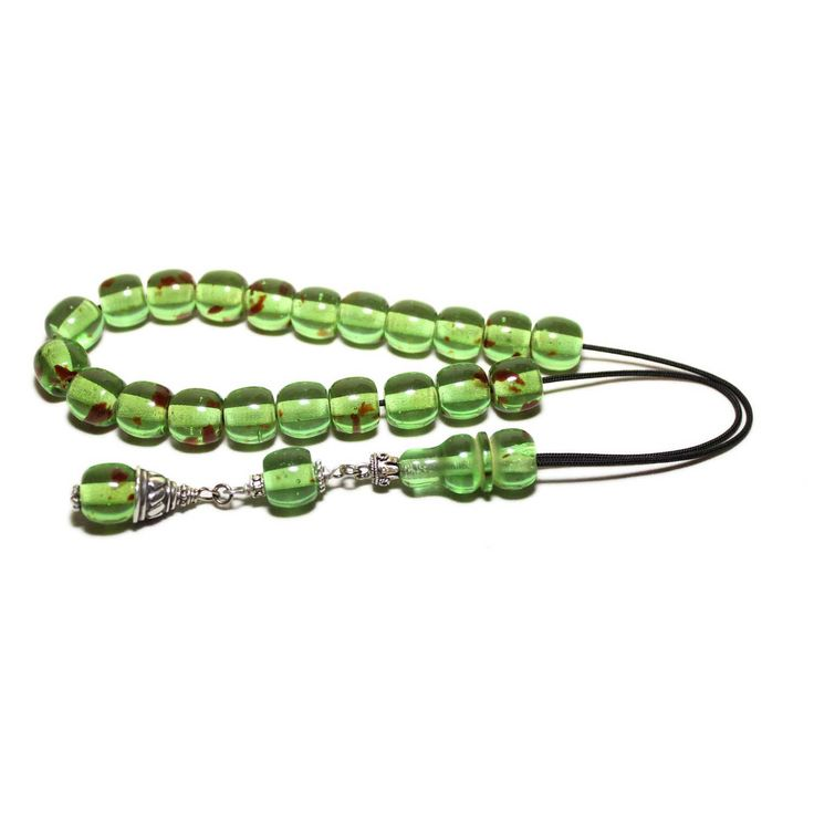Worry Beads, Greek Komboloi, Green Caribbean Amber color, Ball shape beads, Tasbih, Relaxation, Meditation.