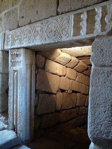 visigothic lintel in entrance to cistern in Merida's Alcazaba