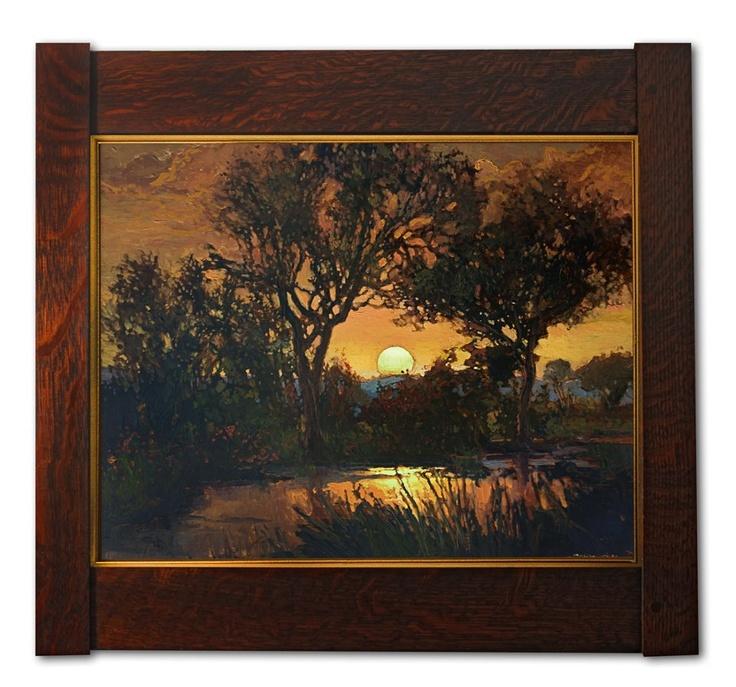 "Jan Schmuckal - Oil on Copper #4 - ""Sweeping Worries Away"" - Arts & Crafts - Craftsman - Bungalow - Oak Frame"