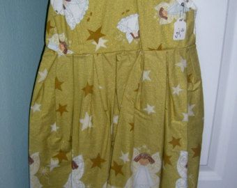 Girls summer dress for church Christmas jumper with angels cotton sundress Size 6 Holiday outfit clothing apparel, church dress Spring dress