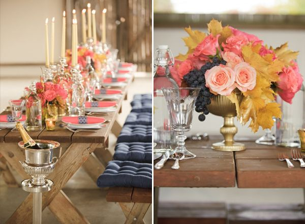 Coral, gold, champagne, & blueberry look absolutely delicious!Orange, Engagement Parties, Colors, Salmon, Pink, Parties Ideas, Parties Tables, Denim Blue, Addition