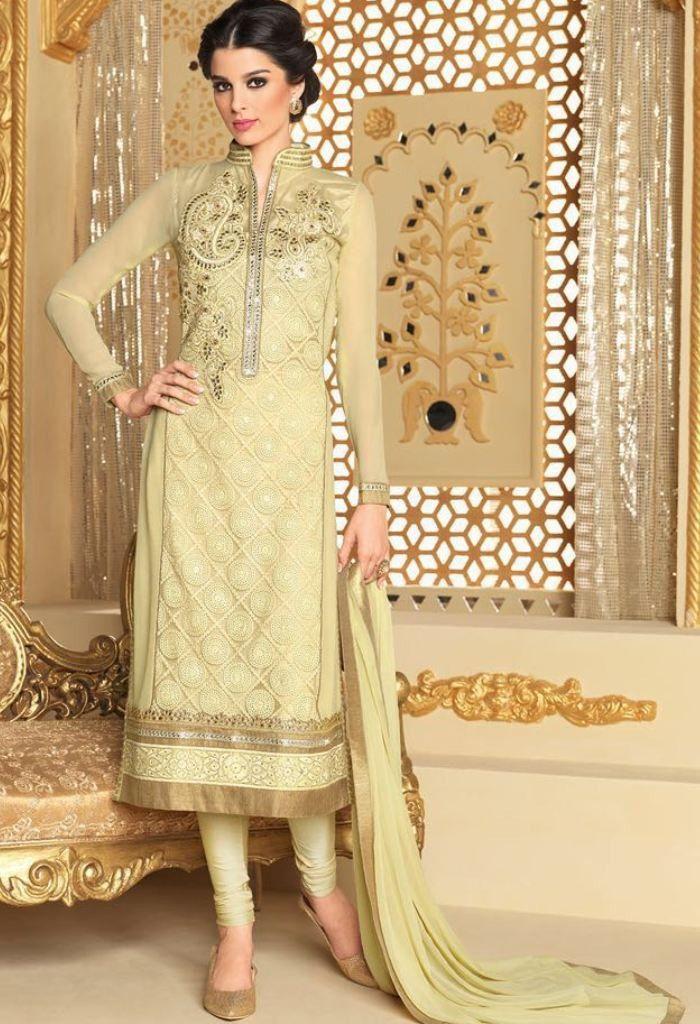 Beige Net Designer Suit Fashionsbyindia Designs Indian Womens Style Cloths Stylish Casual Punjabi Suits Wedding Chic