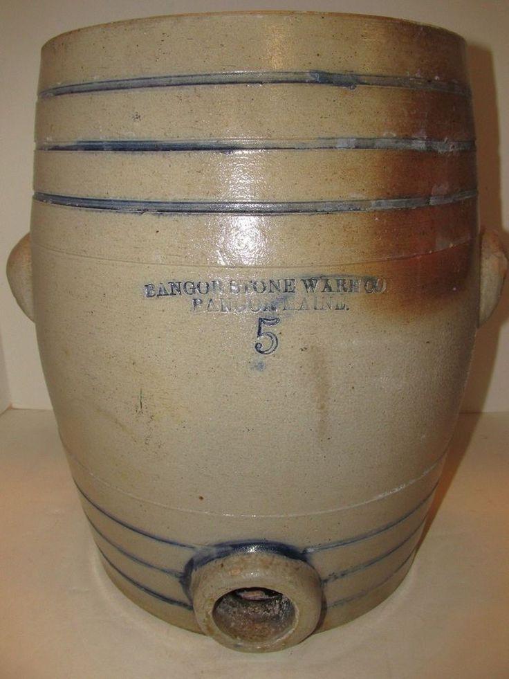 Antique Stoneware Cooler, Bangor Maine, Circa 1880-1914, Maine Pottery #BangorStonewareCo