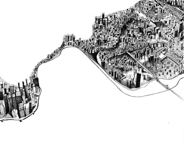 Limited Edition New York Ink Illustration for Sale 8.5 x 11in. $20.00, via Etsy.