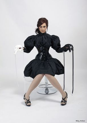 Black patent leather Victorian Underbust corset with silk skirt and blouse