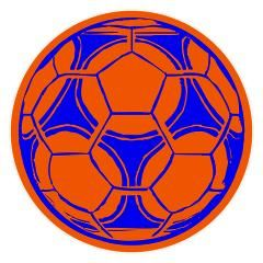 Rond tafelkleed met oranje achtergrond en voetbalprint in Koningsblauw. Beschikbaar in diverse maten, kleuren en prints.