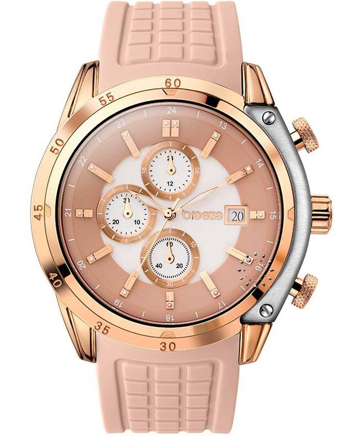 BREEZE Stylish Tech Chrono Beige Rubber Strap Τιμή: 170€ http://www.oroloi.gr/product_info.php?products_id=35262