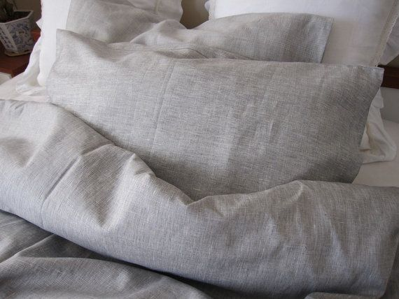 Solid gray grey linen QUEEN or KING duvet cover with bedding pillow cover - men's bedding on Etsy, $185.00