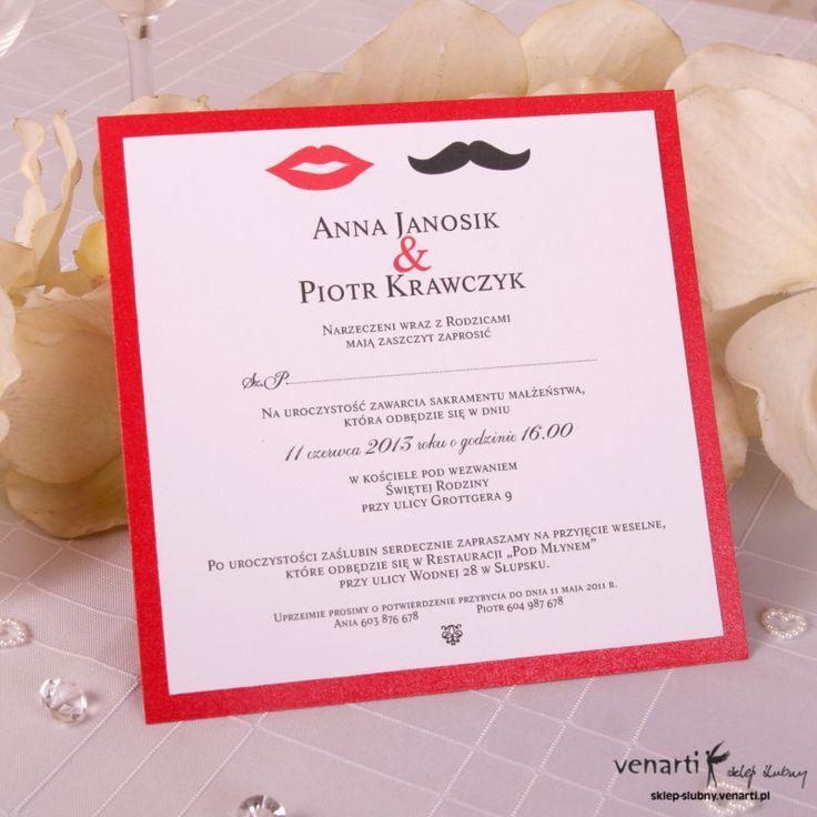 Zaproszenie - wzór z wąsami i ustami