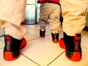 Matching Jordans , daddy  baby me nd Eli soon cnt wait for my lil man