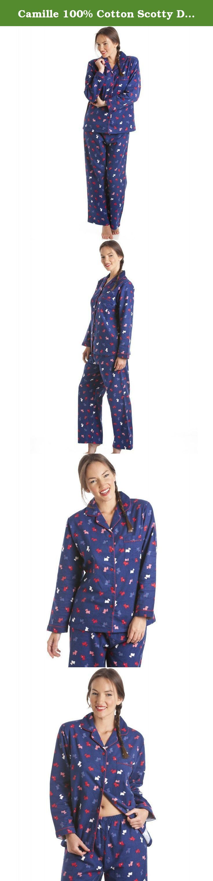 Camille 100% Cotton Scotty Dog Print Full Length Wincy Pyjama Set 14/16 BLUE. Luxury 100% cotton long sleeve pyjamas with full length bottoms. Featuring a Scotty dog print with contrasting piped edging around the neckline and cuffs. Part of our new range of 100% Cotton nightwear in a wide range of colours and designs. .