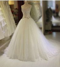 2015 nueva marca blanca Tulle del vestido de bola vestido de boda cariño capilla tren Lace Up Longo fiesta vestidos con diamantes de imitación de encargo(China (Mainland))
