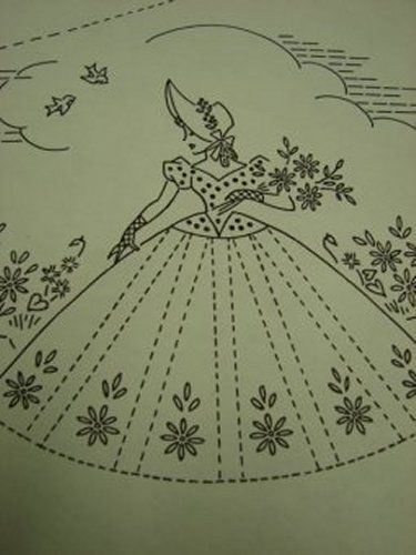 Southern Belle Embroidered Pillowcases Pattern Fancy Ribbons & Lace 1940s #Pattern