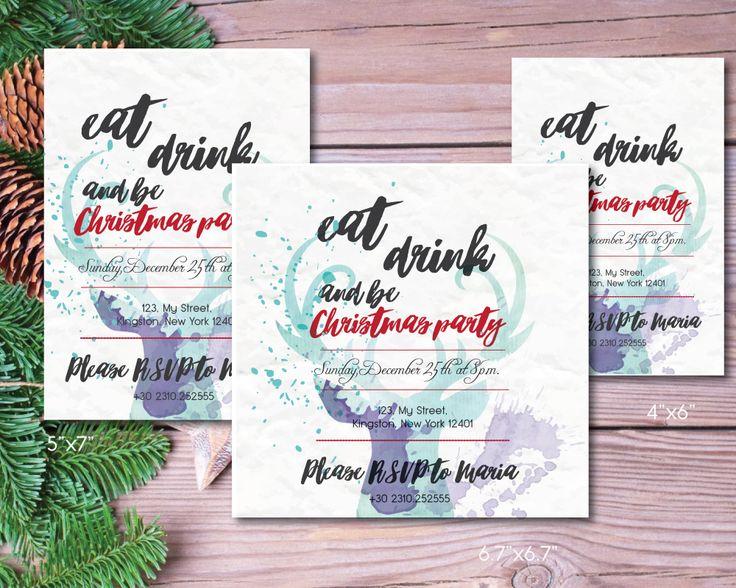 Peintables christmas invitation in www.etsy.com/BeePrintDesigns