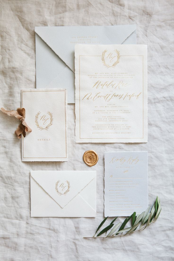 Handmade Paper Invitations // Calligraphy and Design by: Written Word Calligraphy // Gold Foil Printing // Gray Weddings // Gold Weddings // Jessica Sloane Events