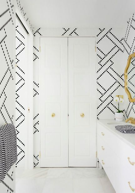 greg natale Australia adore home magazine april may 2013 black and white tile bathroom preppy lattice pattern via Room Fu - Knockout Interiors