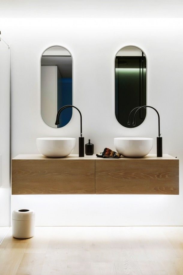 Bathroom - Contemporary Simple Wooden Vanity And White Sinks Inside The Clean Simple Lines Bathroom With Clear Mirrors And White Wall: An Award Winning Simple and Minimalist Bathroom Design Ideas