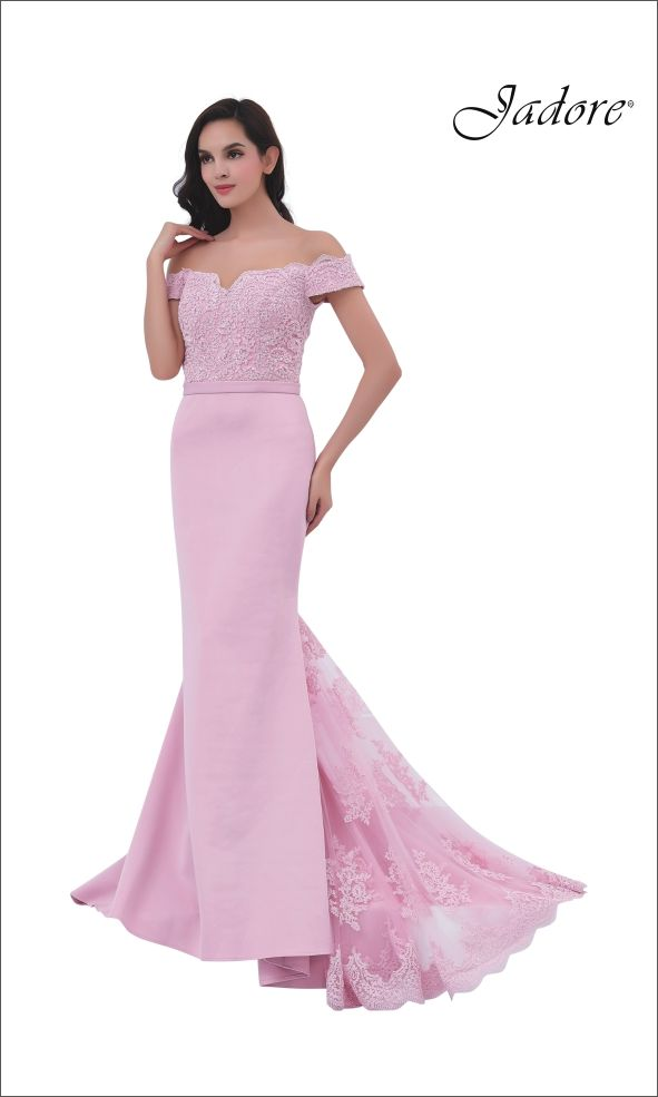 Off The Shoulder Dress with bodice covered in beaded lace features a fit and flare skirt with beaded lace godet.  Made in our amazing neoprene fabric, this gown is not only beautiful but is also extremely comfortable. Available in Red, Navy, Blush, Orchid and Ivory and can be ordered in sizes 2-26.  A great style for Bridesmaid, Maid of Honor, Mother of the Bride, Mother of the Groom, Evening Gown.  View more dress designs by Jadore Evening.  WWW.JADOREEVENING.CA
