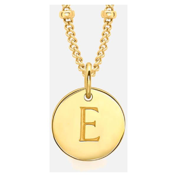 Missoma Women's Initial Charm Necklace - E - Gold (€110) ❤ liked on Polyvore featuring jewelry, necklaces, letter charm necklace, initial charms, gold letter necklace, gold jewelry and gold initial charms