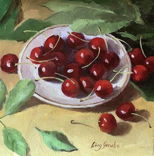 """Daily+Paintworks+-+""""Cherries""""+-+Original+Fine+Art+for+Sale+-+©+Ling+Strube"""